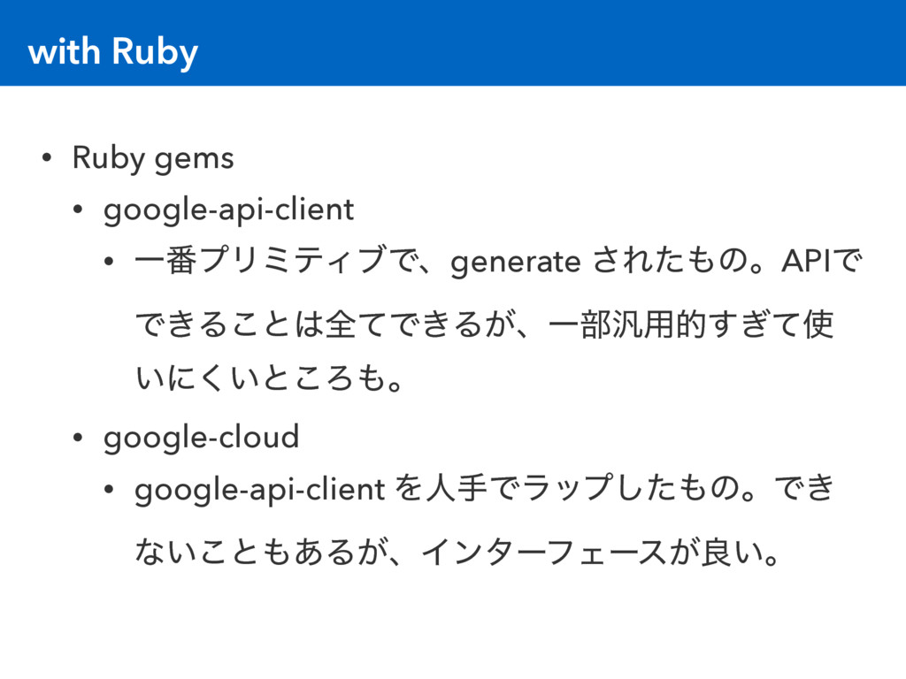 with Ruby • Ruby gems • google-api-client • Ұ൪ϓ...