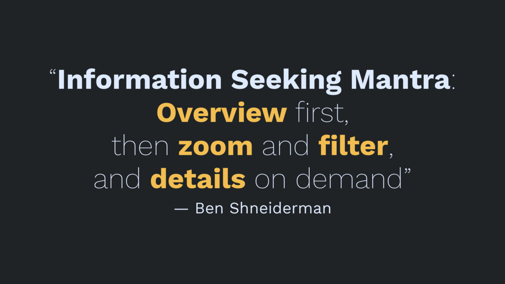 """Information Seeking Mantra: Overview first, the..."
