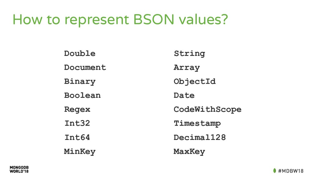 How to represent BSON values? Double String Doc...
