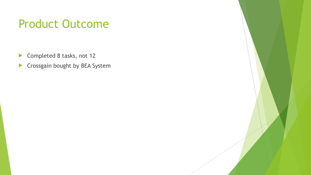 Product Outcome u Completed 8 tasks, not 12 u C...