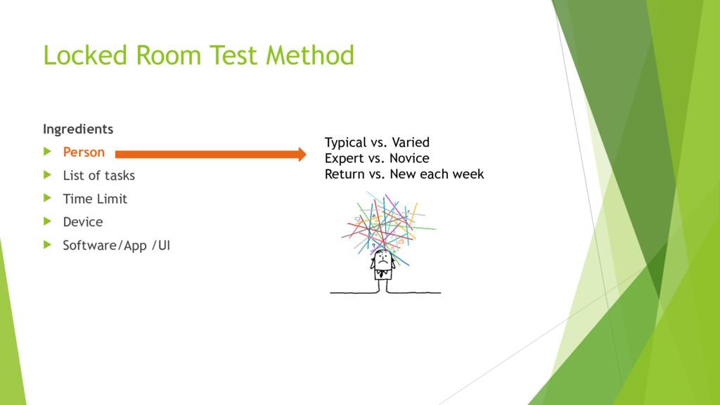 Locked Room Test Method Ingredients u Person u ...