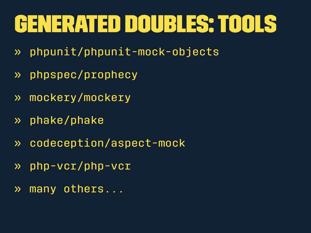 Generated Doubles: Tools » phpunit/phpunit-mock...
