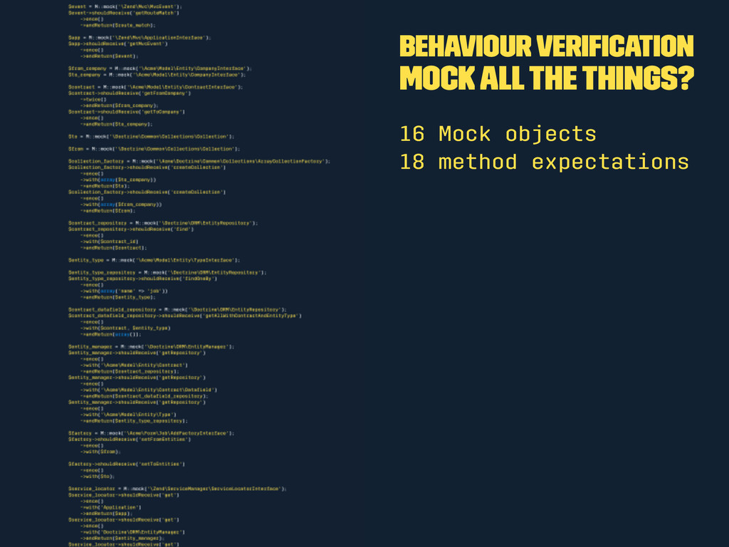 Behaviour Verification Mock all the things? 16 M...