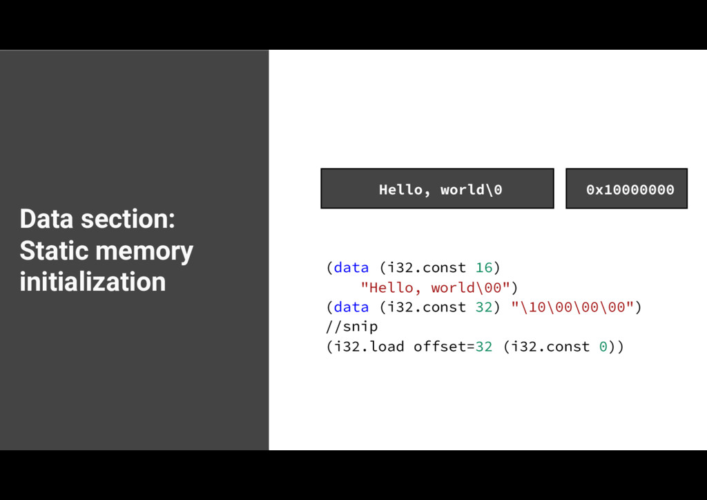 Data section: Static memory initialization EBUB...