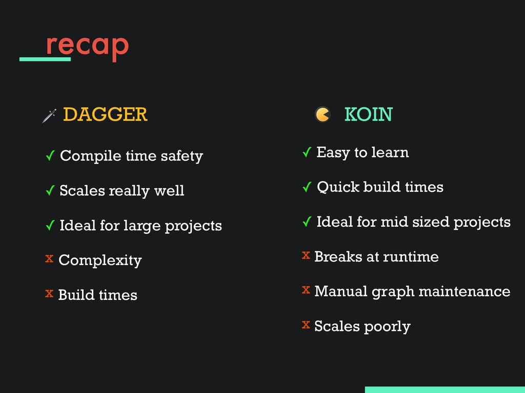 recap  DAGGER ✓ Compile time safety ✓ Scales r...