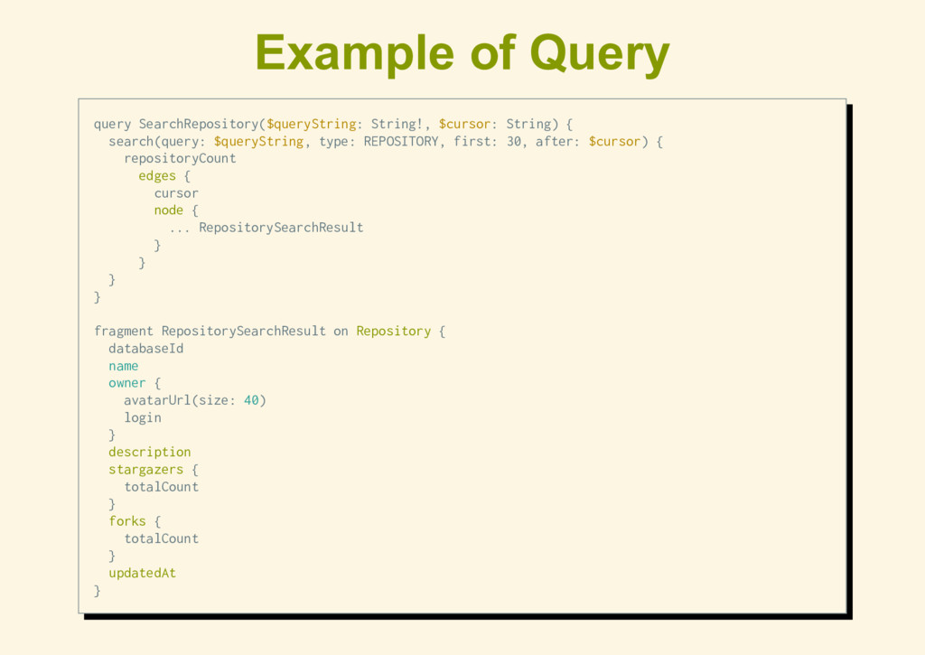 Example of Query query SearchRepository($queryS...