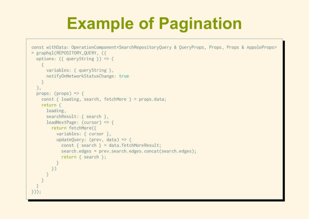 Example of Pagination const withData: Operation...