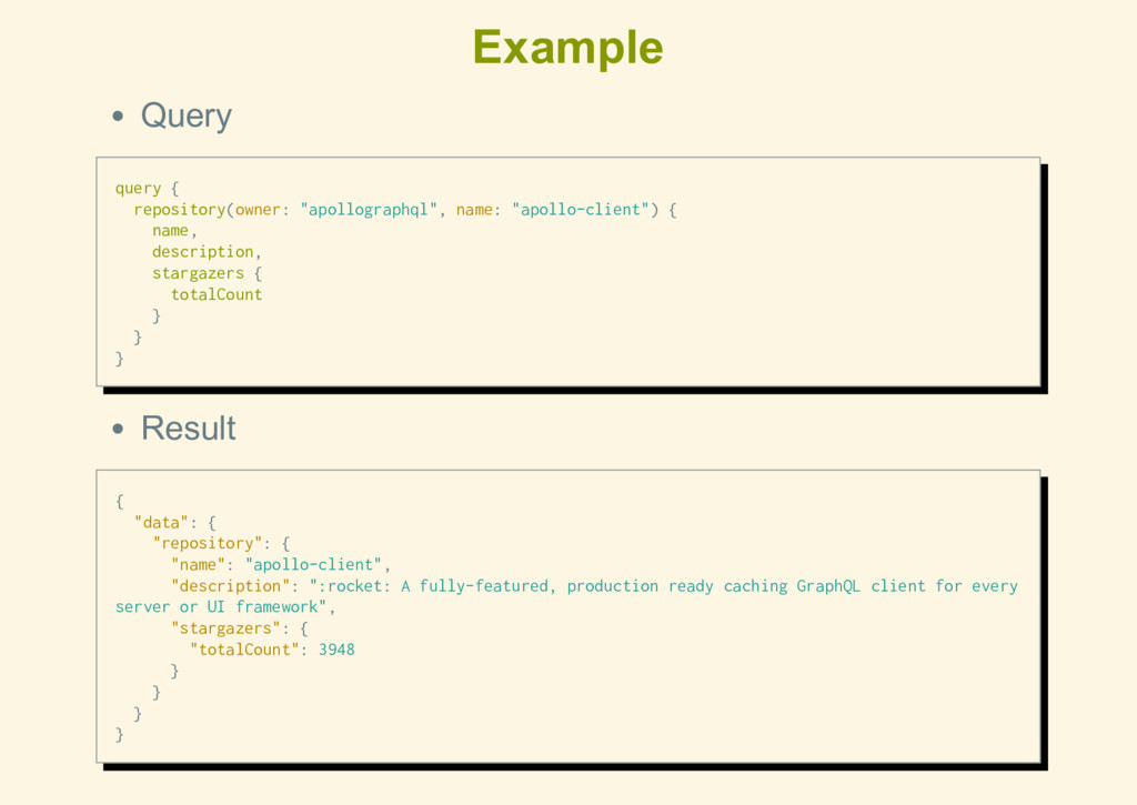 """Example Query query { repository(owner: """"apollo..."""