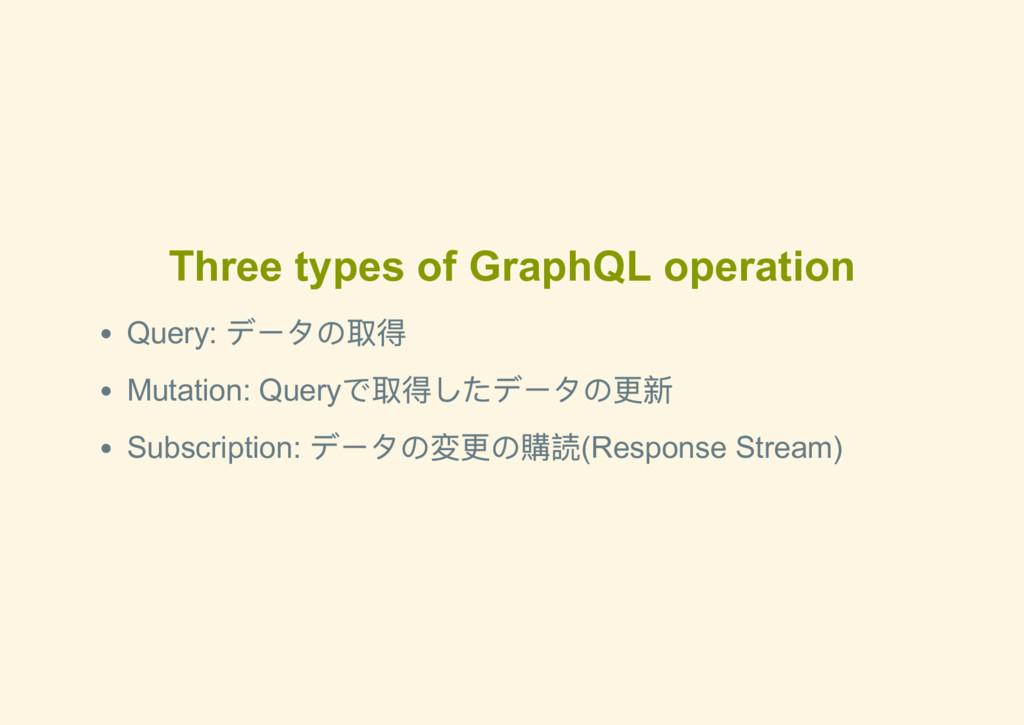 Three types of GraphQL operation Query: データの取得 ...