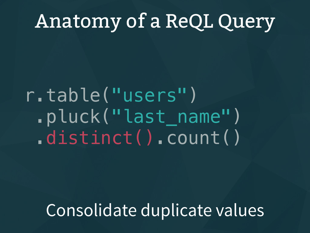 "Anatomy of a ReQL Query r.table(""users"") .pluck..."