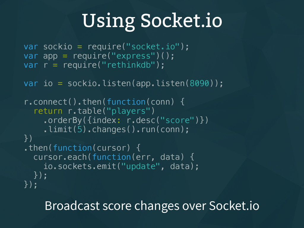 "Using Socket.io var sockio = require(""socket.io..."