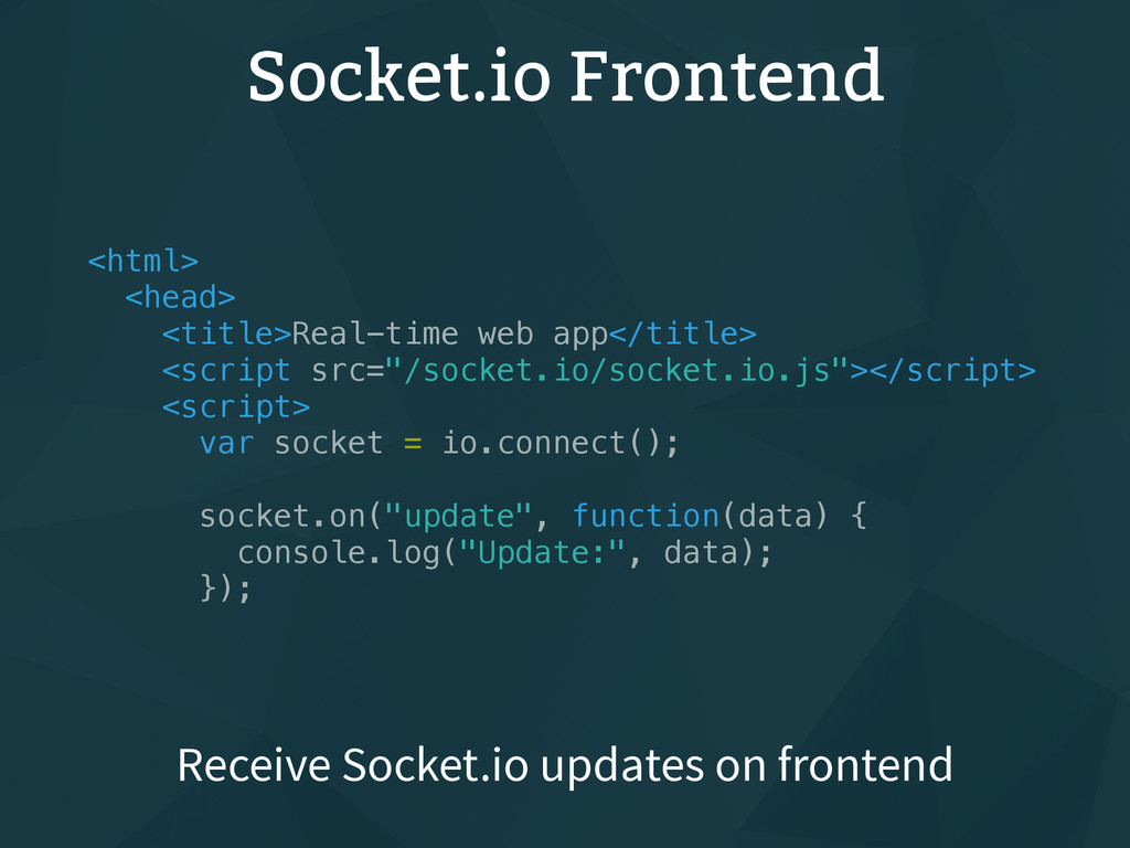 Socket.io Frontend <html> <head> <title>Real-ti...