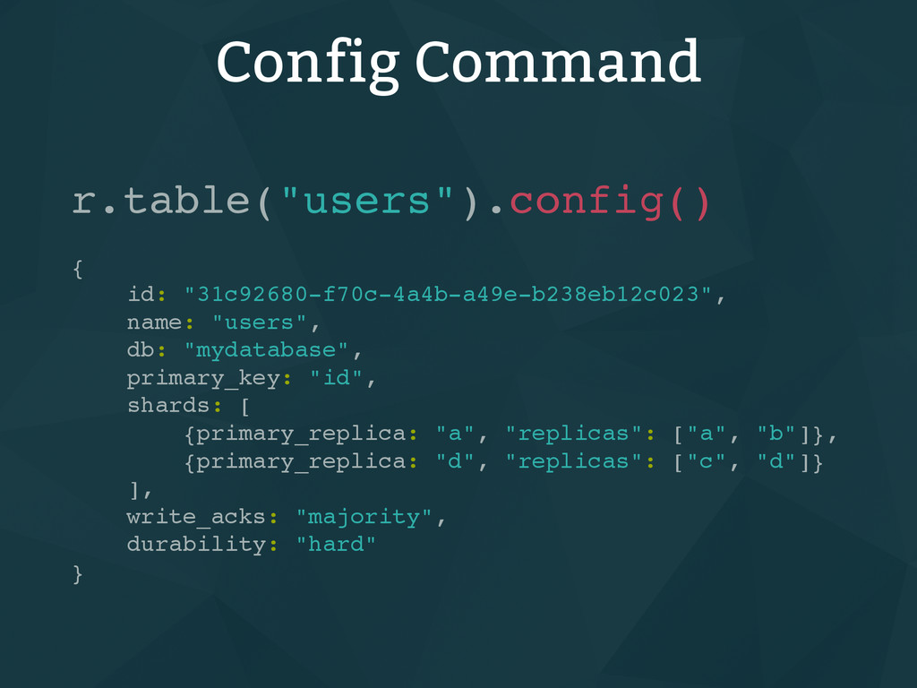 "Config Command r.table(""users"").config() { id: ..."