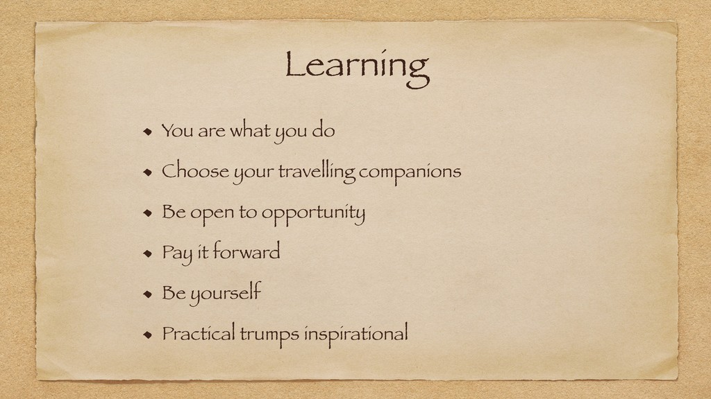Learning You are what you do Choose your travel...