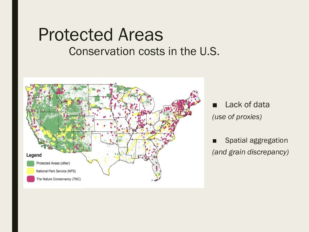 Protected Areas Conservation costs in the U.S. ...
