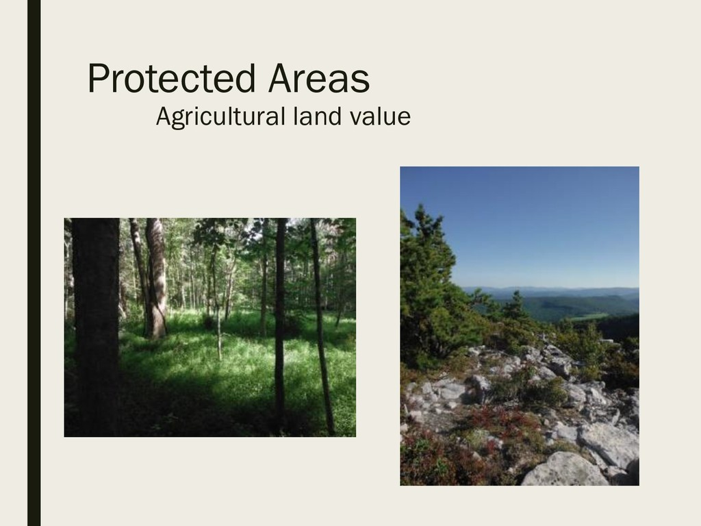 Protected Areas Agricultural land value