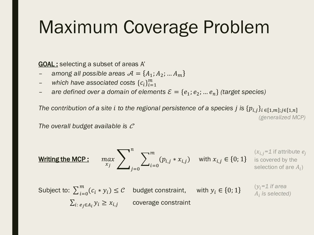 Maximum Coverage Problem GOAL : selecting a sub...
