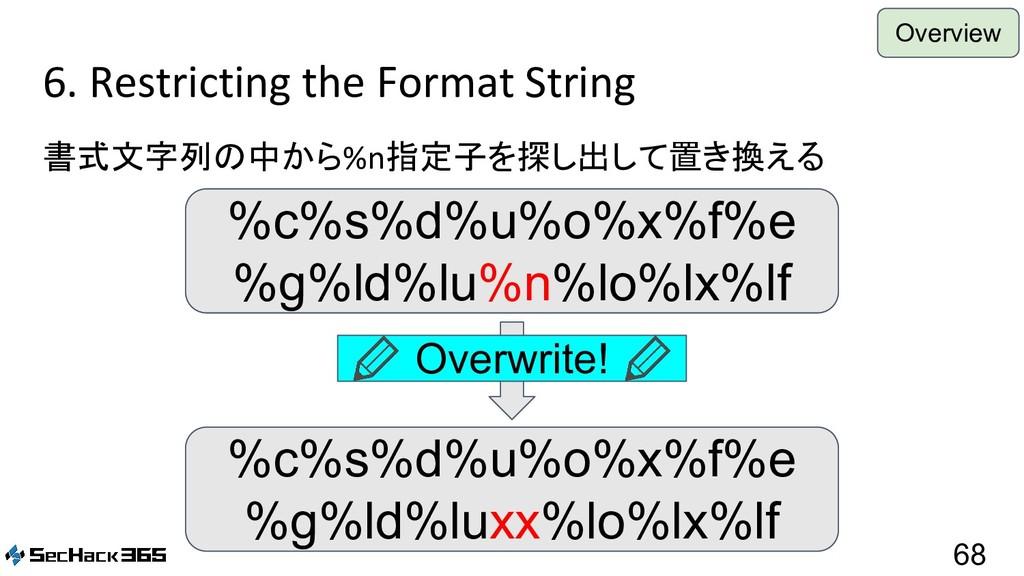 6. Restricting the Format String 書式文字列の中から%n指定子...