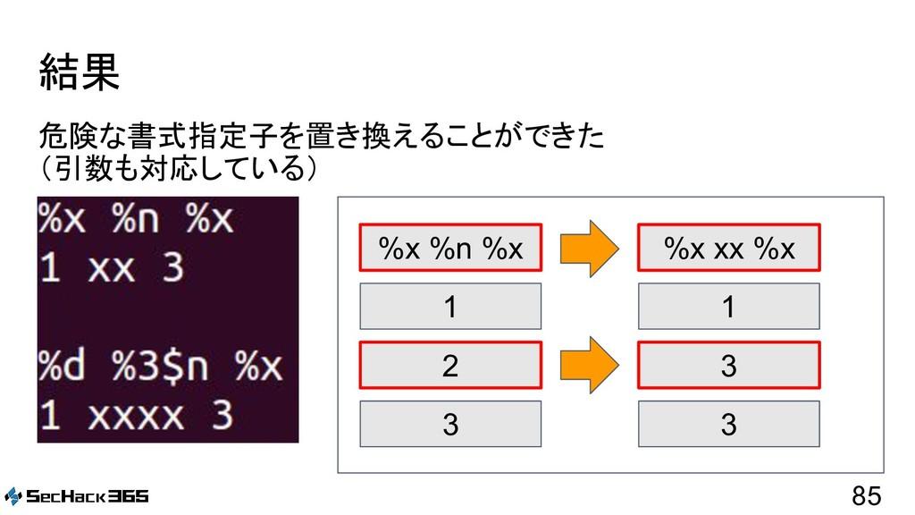 結果 危険な書式指定子を置き換えることができた (引数も対応している) 85 %x %n %x...