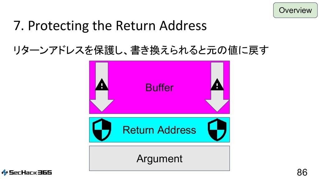 7. Protecting the Return Address リターンアドレスを保護し、書...