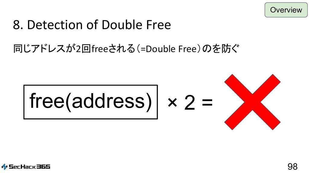 8. Detection of Double Free 同じアドレスが2回freeされる(=D...