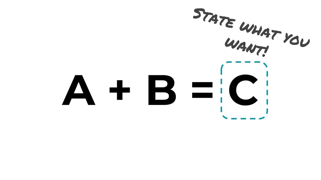 A + B = C State what you want!