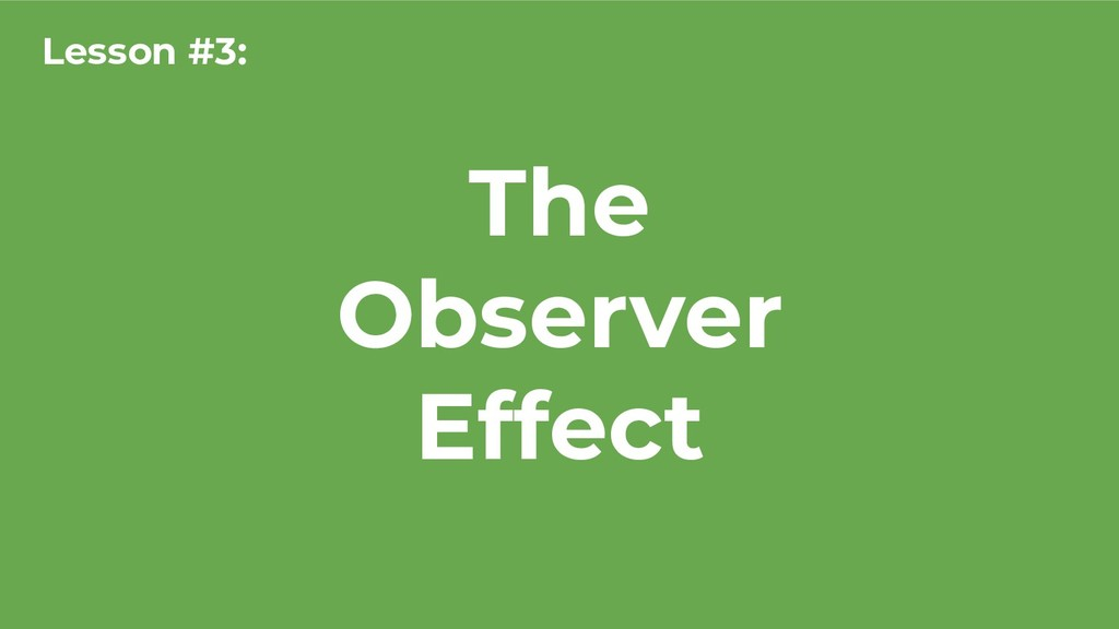 The Observer Effect Lesson #3:
