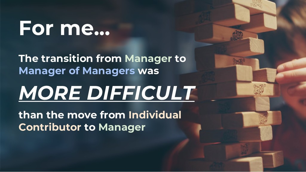For me... The transition from Manager to Manage...