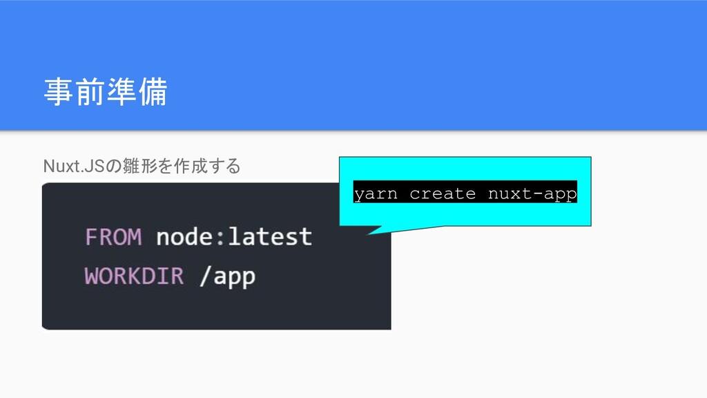 事前準備 Nuxt.JSの雛形を作成する yarn create nuxt-app