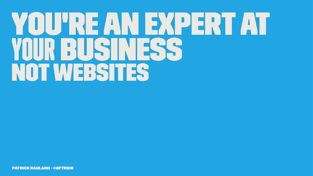 You're an Expert at Your Business Not Websites ...