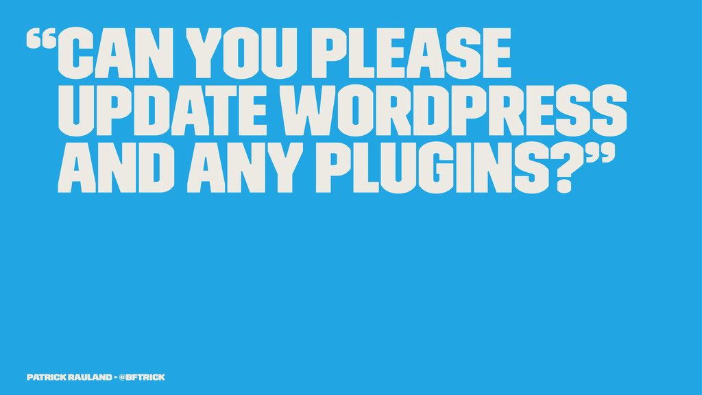 """""""Can you please update WordPress and any plugin..."""