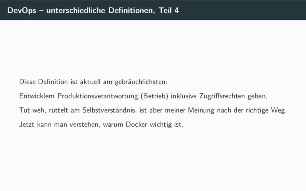 DevOps – unterschiedliche Definitionen, Teil 4 D...