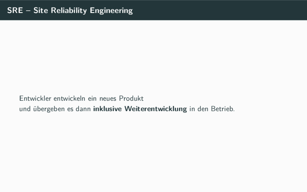SRE – Site Reliability Engineering Entwickler e...