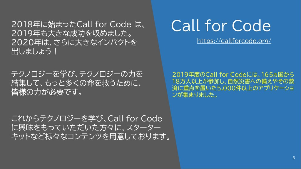 Call for Code 2018年に始まったCall for Code は、 2019年も...
