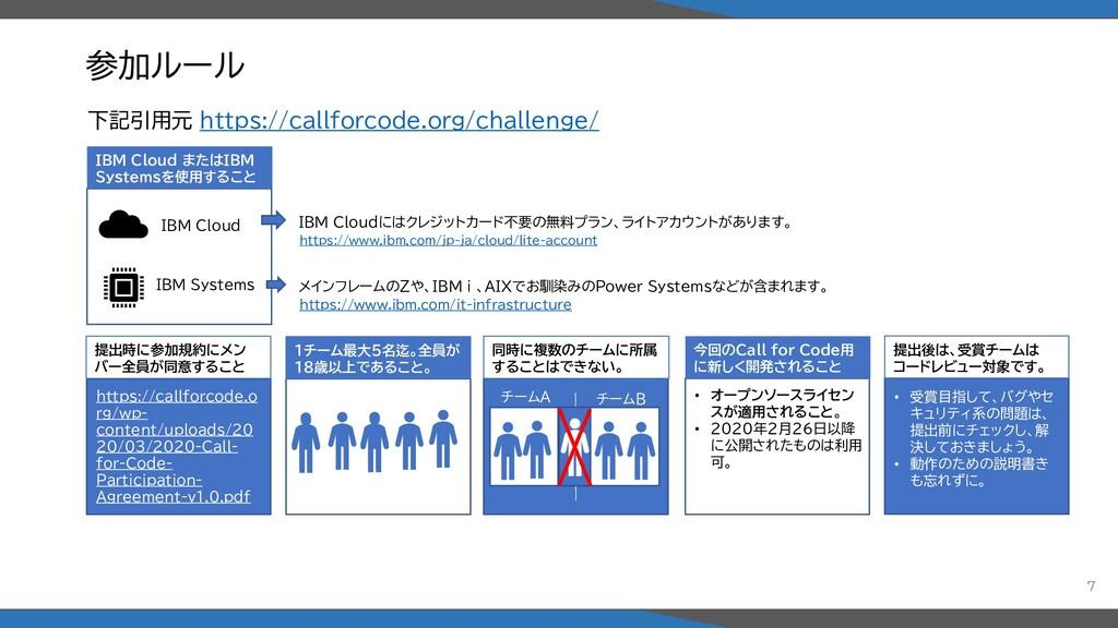 参加ルール IBM Cloud またはIBM Systemsを使用すること 1チーム最大5名迄...