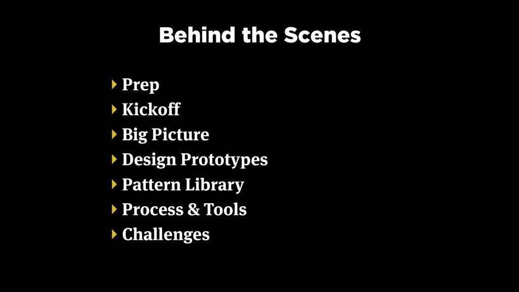 Behind the Scenes ‣ Prep ‣ Kickoff ‣ Big Pictur...