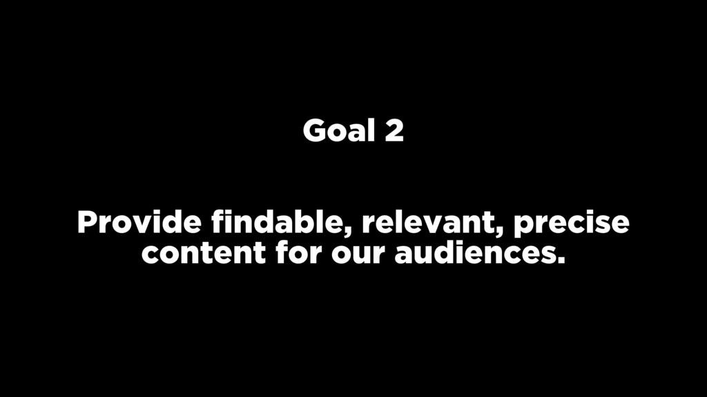Goal 2 Provide findable, relevant, precise conte...