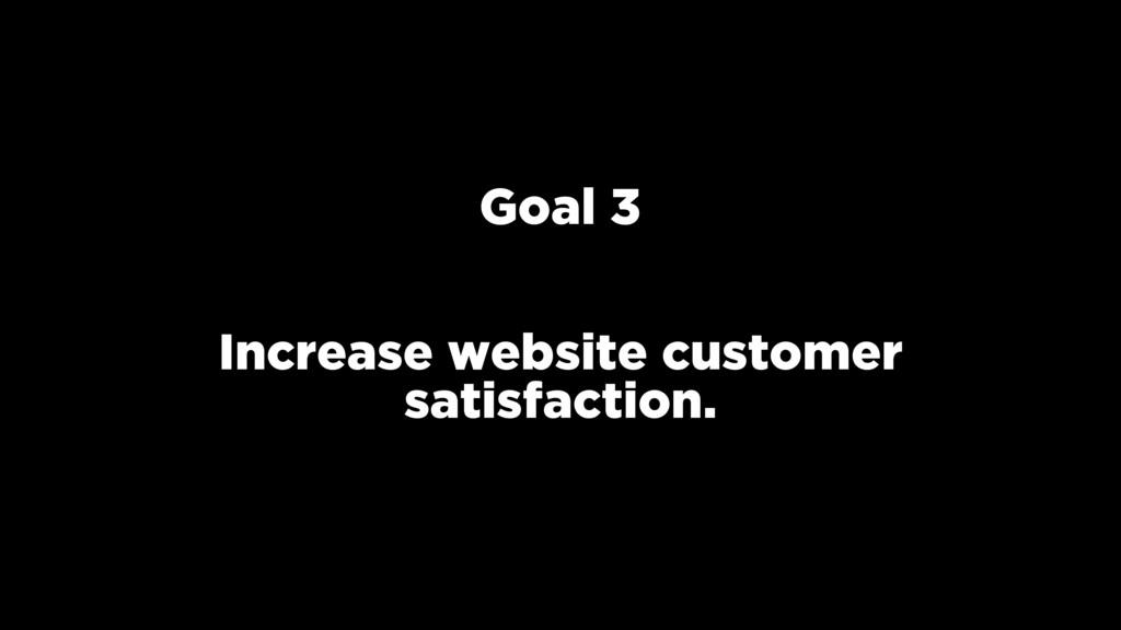 Goal 3 Increase website customer satisfaction.