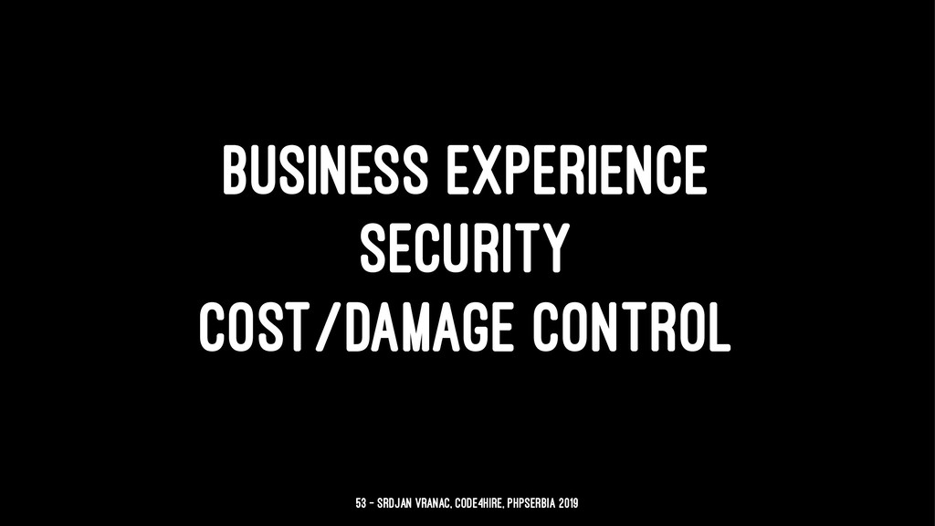 BUSINESS EXPERIENCE SECURITY COST/DAMAGE CONTRO...