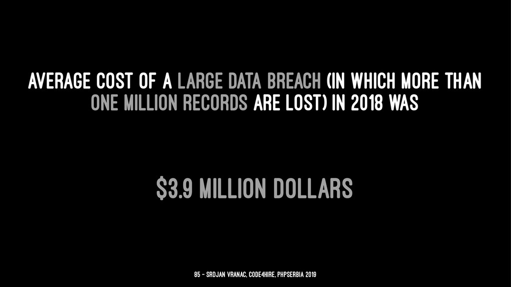 average cost of a large data breach (in which m...