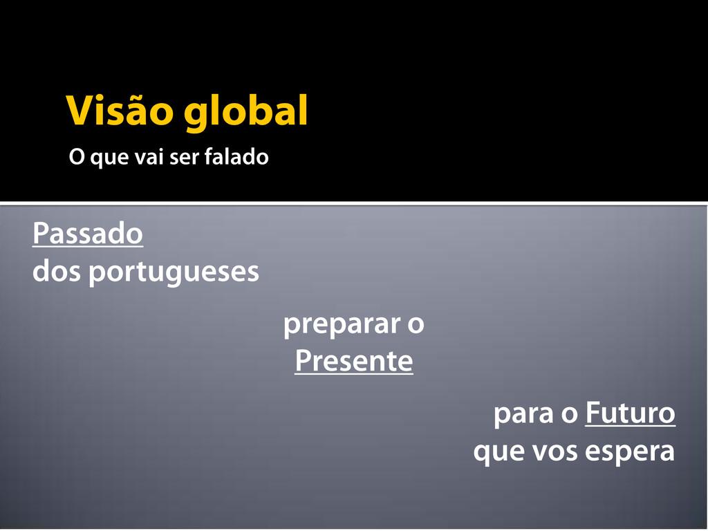 Visão global O que vai ser falado Passado dos p...