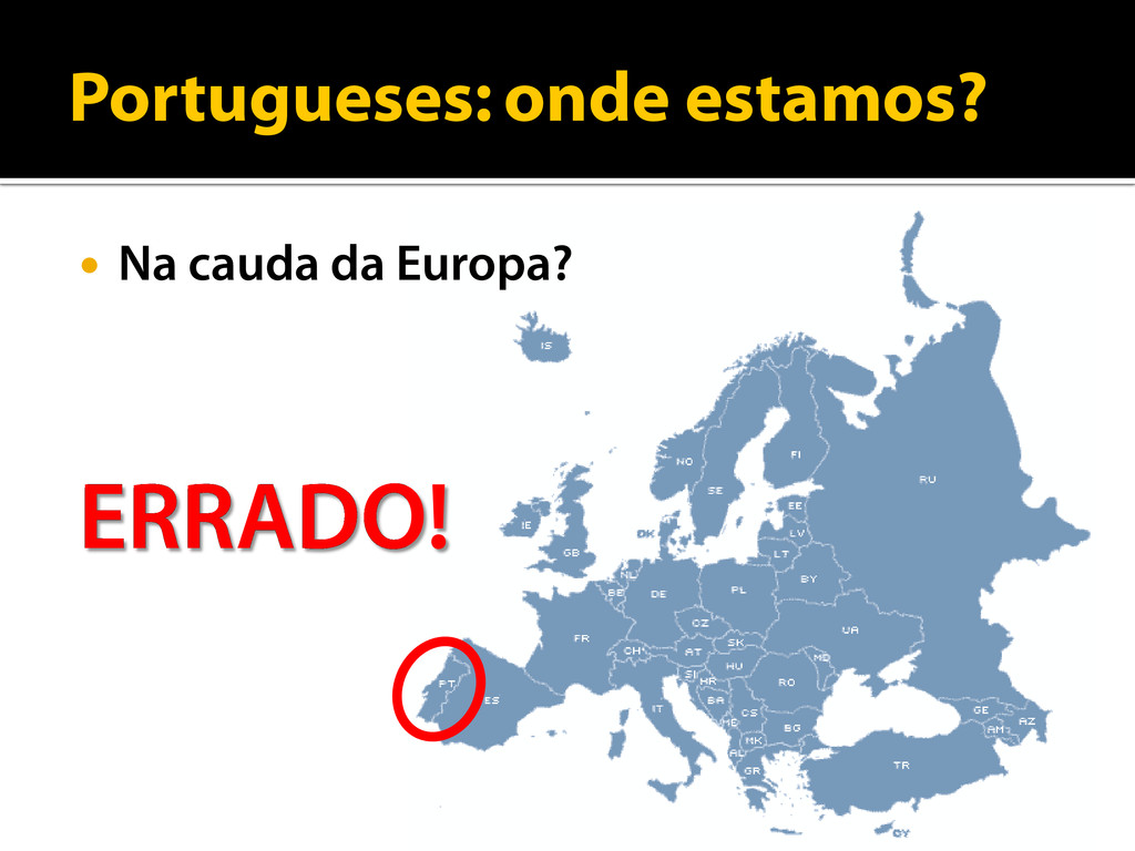 Portugueses: onde estamos?  Na cauda da Europa...