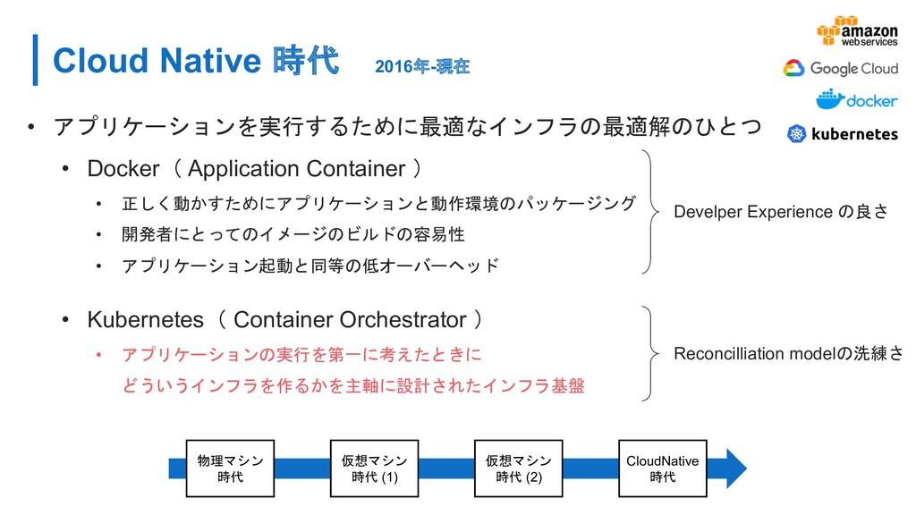 Cloud Native 時代 2016年-現在 • アプリケーションを実行するために最適なイ...
