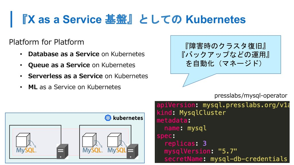 『X as a Service 基盤』としての Kubernetes Platform for...