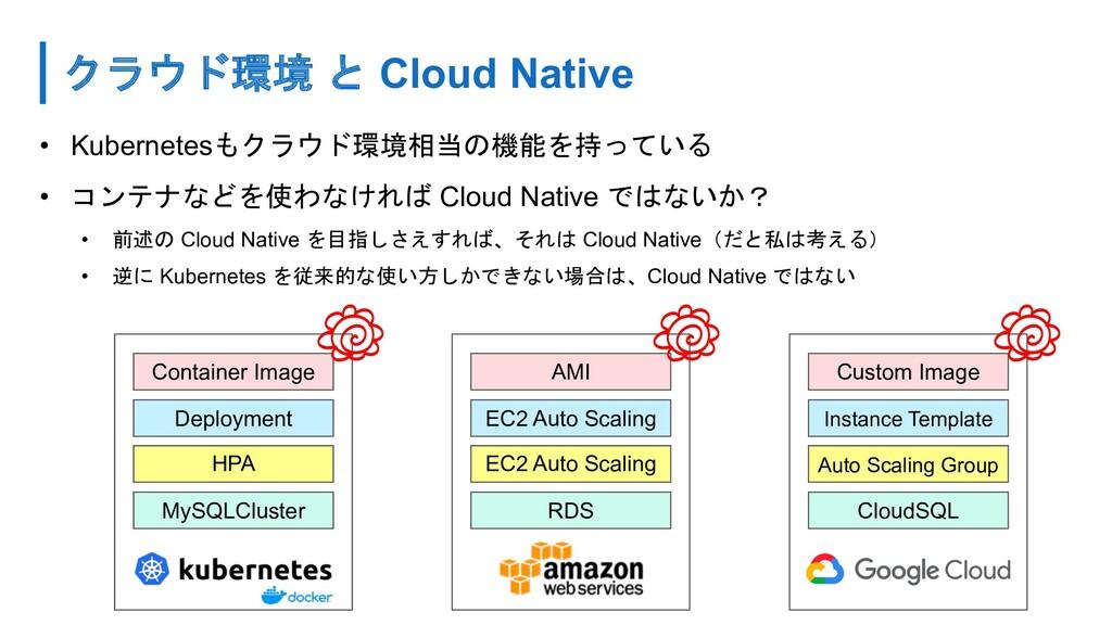 クラウド環境 と Cloud Native • Kubernetesもクラウド環境相当の機能を...