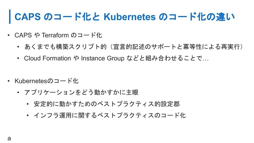 CAPS のコード化と Kubernetes のコード化の違い • CAPS や Terraf...