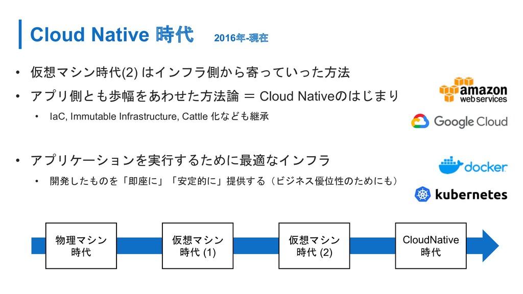 Cloud Native 時代 2016年-現在 • 仮想マシン時代(2) はインフラ側から寄...
