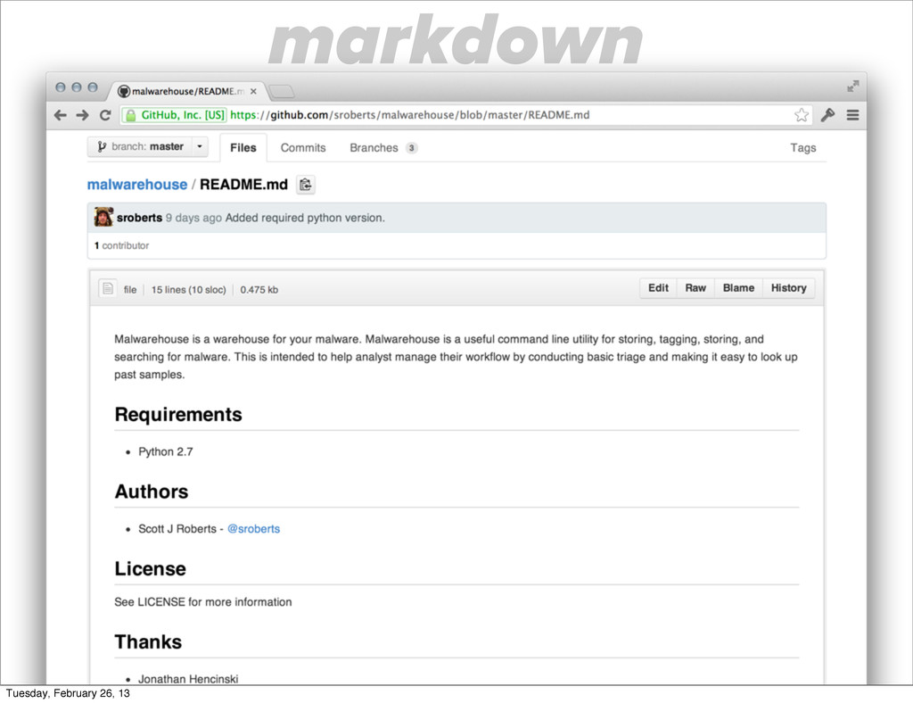 markdown Tuesday, February 26, 13