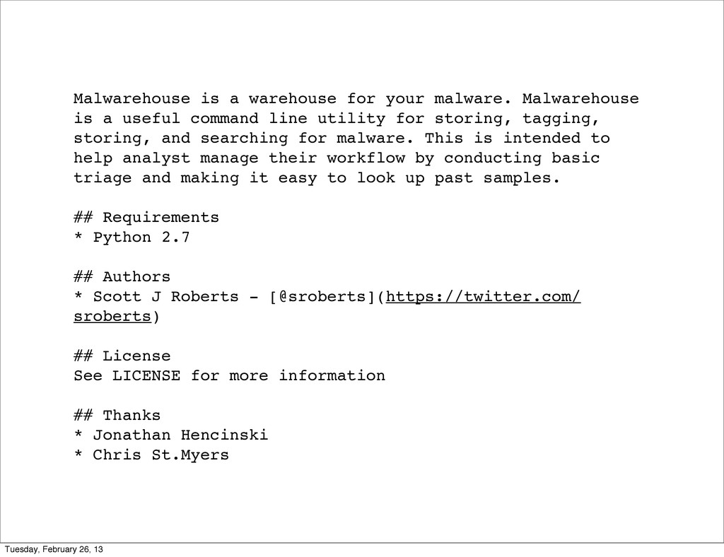 Malwarehouse is a warehouse for your malware. M...