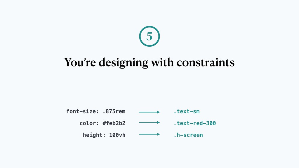 You're designing with constraints 5 font-size: ...